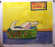 Photo of BEWARE OF DOG MEDIUM SIZED OIL PAINTING
