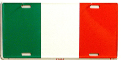 """ITALY,COLORFUL FLAG, METAL LICENSE PLATE 12"""" X 6""""  WITH HOLES SLOTS CUT FOR EASY MOUNTING"""