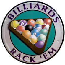 Photo of BILLIARDS, RACK'EM POOL SIGN WITH COLORFULL RACK OF BALLS