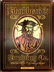 BLACK BEARDS BREWING CO. THIS ENAMEL SIGN SPORTS RICH DARK COLORS AND GRAPHICS BEFITING BLACKBEARD HIMSELF..  THIS SIGN IS OUT OF PRINT WE HAVE BUT TWO LEFT