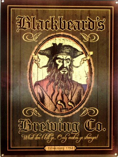 BLACK BEARDS BREWING CO. THIS ENAMEL SIGN SPORTS RICH DARK COLORS AND GRAPHICS BE FITTING BLACKBEARD HIMSELF..  THIS SIGN IS OUT OF PRINT WE HAVE ONLY ONE LEFT