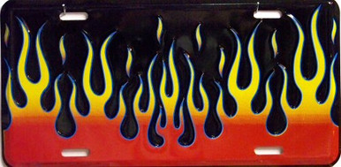 Photo of BLACK FLAMES LICENSE PLATE