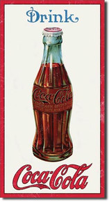 "THIS VINTAGE 1915 COKE BOTTLE SIGN MEASURES 8 1/2"" W X 16"" H  IT HAS HOLES IN EACH CORNER FOR EASY MOUNTING"