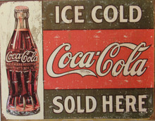 "THIS RUSTIC LOOKING VINTAGE COCA-COLA SIGN MEASURES 16"" W X 12 1/2"" H  AND HAS HOLES IN EACH CORNER FOR EASY MOUNTING  IT HAS GENUINE SIMULATED RUST TO MAKE IT LOOK OLDER  THE ORIGINAL DATES BACK TO c. 1916"