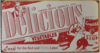 "GREAT CAMPBELLS DELICIOUS VINTAGE SOUP LABLE TIN SIGN MEASURES 16"" W X 10"" H AND HAS HOLES IN EACH CORNER FOR EASY MOUNTING  THIS SIGN IS OUT OF PRINT, WE HAVE FOUR LEFT"