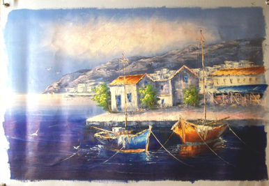 Photo of BOATS BY MARKET MEDIUM SIZED OIL PAINTING