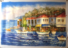 Photo of BOATS BY TOWN MEDIUM LARGE SIZED OIL PAINTING
