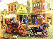 THIS ENAMEL SIGN DEPICTS A HORSE DRAWN STEAM POWERED FIRE ENGINE OF A DAY GONE BY. GREAT COLORS AND ATTENTION TO DETAIL MAKE THIS A MUST FOR ANY FIREFIGHTERS COLLECTION
