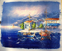 Photo of BOATS BY VILLA SMALL SIZED OIL PAINTING