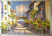 Photo of BOATS THRU ARCHWAY MEDIUM LARGE SIZED OIL PAINTING