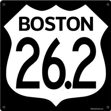 Photo of BOSTON 26.2   MARATHON HEAVY METAL WITH THE WHITE INTERSTATE SHIELD ON BLACK BACKGROUND, IF YOU'VE RUN OR ARE ASPIRING TO RUN     STOCK SIGN NOT CUSTOMIZEABLE