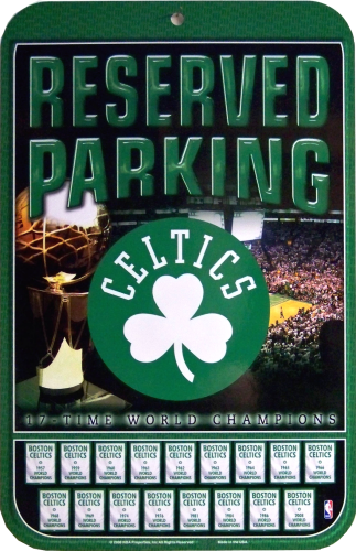 """Photo of BOSTON CELTICS BASKETBALL PARKING """"CHAMPIONSHIPS"""" LIST ALL THE YEARS THE CELTICS WON GREAT COLOR AND DETAIL"""
