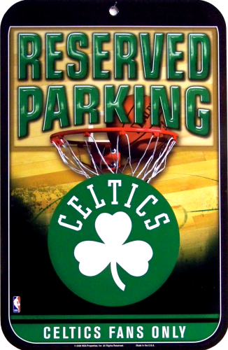Photo of BOSTON CELTICS BASKETBALL PARKING ONLY SIGN WITH GREAT COLOR AND DETAIL FOR ANY CELTICS FAN