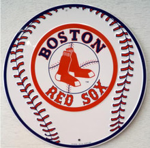 Photo of BOSTON RED SOX BASEBALL ROUND SIGN WITH GREAT GRAPICS AND COLOR