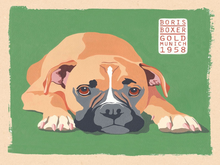 BOXER DOG ENAMEL SIGN RICH COLOR AND DETAIL