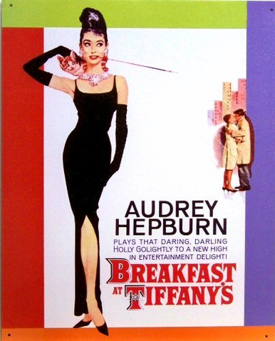 Photo of BREAKFAST AT TIFFANY'S SIGN SHOWING AUDREY HEPBURN AS HOLLY GO LIGHTLEY IN THIS MOVIE POSTER SIGN