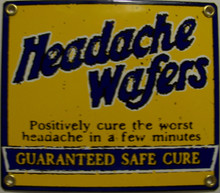 """THIS OLD FASHION SIGN MEASURES 7"""" X 6"""" AND IS A PROCELAIN SIGN ON HEAVY METAL, IT HAS HOLES IN EACH CORNER FOR EASY MOUNTING.  GOING BACK TO THE DAYS OF MIRACLE CURES."""