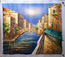 Photo of BRIDGE OVER CANAL MEDIUM SIZED OIL PAINTING