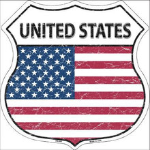 """COUNTRY FLAG HIGHWAY SHIELD, CRACKLE PAINT,  FLAT ALUMINUM METAL SIGN  12"""" X 12"""" COLLECT EACH COUNTRY YOU LIKE OR HAVE VISITED! If you are ordering from outside the U.S. consider  asking your friends to order signs also, it is less expensive for extra signs than for the first sign, split the shipping cost, it makes ordering more affordable. Actually, the same is true for Domestic shipping as well."""