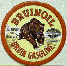 Photo of BRUIIN GAS SIGN, ROUND METAL GREAT COLOR AND DETAIL