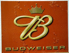 Photo of BUDWEISER CROWN LOGO BEER SIGN, EVEN THE BEADS OF CONDENSATION LOOK REAL IN THIS SIGN