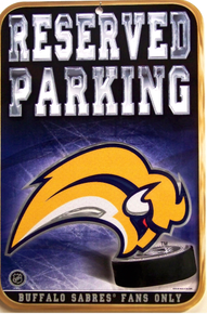 Photo of BUFFALO SABRES RESERVED PARKING SIGN HAS GREAT COLOR AND DETAILS