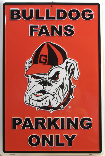 BULL DOG FANS EMBOSSED COLLEGE SIGN