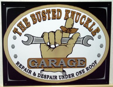 Photo of BUSTED KNUCKLE GARAGE SIGN, IS A GREAT ADDITION TO ANY MECHANICS COLLECTION