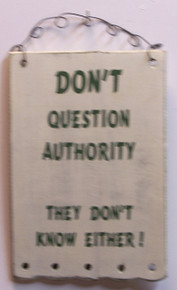 "THIS SMALL HUMOROUS WOOD & WIRE SIGN MEASURES 4 3/4"" X 7 1/4"" OVERALL"