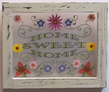 "HOME SWEET HOME SMALL FRAMED FLOWERS MEASURES 8 5/16"" X 8""  WOOD & PLEXYGLASS TRANSLUCENT SO LIGHT CAN SHINE THRU!"