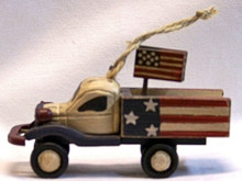 "SMALL PATRIOTIC WOOD TRUCK DECORATION 4 1/4"" L X 3 1/2"" H X 1 3/4"" D"