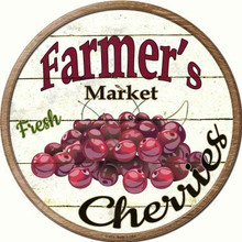 """ROUND, FLAT, ALUMINUM, VINTAGE FARMER'S MARKET SIGN MEASURING 12"""" IN DIAMETER. WITH HOLES FOR EASY MOUNTING GREAT COLOR AND EXCEPTIONAL DETAIL, WILL NOT RUST!"""