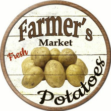 "ROUND, FLAT, ALUMINUM, VINTAGE FARMER'S MARKET SIGN MEASURING 12"" IN DIAMETER. WITH HOLES FOR EASY MOUNTING GREAT COLOR AND EXCEPTIONAL DETAIL, WILL NOT RUST!"
