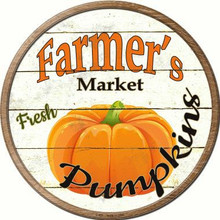 """ROUND, FLAT, ALUMINUM, VINTAGE FARMER'S MARKET SIGN MEASURING 12"""" IN DIAMETER. WITH A HOLE FOR EASY MOUNTING GREAT COLOR AND EXCEPTIONAL DETAIL, WILL NOT RUST!"""