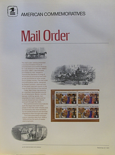 """PANEL #2, U.S. COMMERATIVE PANEL…MAIL ORDER, ISSUED 9/27/1972 SCOTT # 1468, PRINTED ON HEAVY PAPER,  MEASURING 8  1/2""""  X  11  1/4"""" WITH 4  UNUSED 8 CENT STAMPS  PANELS ISSUED BY U.S. BUREAU OF ENGRAVING REPRESENT MANY HISTORICAL EVENTS IN OUR COUNTRY PLUS CULTURAL, WILDLIFE, FLORAL, MUSICAL, MOVIES AND COUNTLESS OTHER SUBJECTS, GREAT FOR COLLECTORS AND ENTHUSIAST OF A WIDE VARIETY OF INTEREST. GREAT TO FRAME FOR GIFTS! UP TO A DOZEN CAN BE SHIPPED USING PRIORITY MAIL FLAT RATE ENVELOPE, FOR THE PRICE OF ONE (REFUND GIVEN AFTER PANELS ARE SHIPPED TAKES 3-4 DAYS FOR REFUND TO REACH YOUR CARD) OR YOU CAN SEND ONE OR MORE, FIRST CLASS (NOT INSURED) FOR LESS, YOUR CHOICE."""