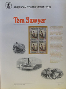 "PANEL #4, U.S. COMMERATIVE PANE TOM SAWYER …, ISSUED 10/13/1972 SCOTT # 1470, PRINTED ON HEAVY PAPER,  MEASURING 8  1/2""  X  11  1/4"" WITH 4 UNUSED TOM SAWYER 8 CENT STAMPS  PANELS ISSUED BY U.S. BUREAU OF ENGRAVING REPRESENT MANY HISTORICAL EVENTS IN OUR COUNTRY PLUS CULTURAL, WILDLIFE, FLORAL, MUSICAL, MOVIES AND COUNTLESS OTHER SUBJECTS, GREAT FOR COLLECTORS AND ENTHUSIAST OF A WIDE VARIETY OF INTEREST.  GREAT TO FRAME FOR GIFTS! UP TO A DOZEN CAN BE SHIPPED USING PRIORITY MAIL FLAT RATE ENVELOPE, FOR THE PRICE OF ONE (REFUND GIVEN AFTER PANELS ARE SHIPPED TAKES 3-4 DAYS FOR REFUND TO REACH YOUR CARD) OR YOU CAN SEND ONE OR MORE, FIRST CLASS (NOT INSURED) FOR LESS, YOUR CHOICE."
