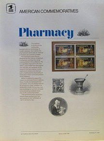"PANEL # 5, U.S. COMMERATIVE PANEL PHARMACY …, ISSUED 11/10/1972 SCOTT # 1470, PRINTED ON HEAVY PAPER,  MEASURING 8  1/2""  X  11  1/4"" WITH 4 UNUSED PHARMACY 8 CENT STAMPS  PANELS ISSUED BY U.S. BUREAU OF ENGRAVING REPRESENT MANY HISTORICAL EVENTS IN OUR COUNTRY PLUS CULTURAL, WILDLIFE, FLORAL, MUSICAL, MOVIES AND COUNTLESS OTHER SUBJECTS, GREAT FOR COLLECTORS AND ENTHUSIAST OF A WIDE VARIETY OF INTEREST.  GREAT TO FRAME FOR GIFTS! UP TO A DOZEN CAN BE SHIPPED USING PRIORITY MAIL FLAT RATE ENVELOPE, FOR THE PRICE OF ONE (REFUND GIVEN AFTER PANELS ARE SHIPPED TAKES 3-4 DAYS FOR REFUND TO REACH YOUR CARD)"