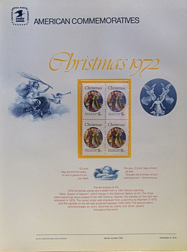 "PANEL # 6, U.S. COMMERATIVE PANEL CHRISTMAS ANGELS …, ISSUED 11/9/1972 SCOTT # 1471, PRINTED ON HEAVY PAPER,  MEASURING 8  1/2""  X  11  1/4"" WITH 4 UNUSED CHRISTMAS ANGELS 8 CENT STAMPS  PANELS ISSUED BY U.S. BUREAU OF ENGRAVING REPRESENT MANY HISTORICAL EVENTS IN OUR COUNTRY PLUS CULTURAL, WILDLIFE, FLORAL, MUSICAL, MOVIES AND COUNTLESS OTHER SUBJECTS, GREAT FOR COLLECTORS AND ENTHUSIAST OF A WIDE VARIETY OF INTEREST.  GREAT TO FRAME FOR GIFTS! UP TO A DOZEN CAN BE SHIPPED USING PRIORITY MAIL FLAT RATE ENVELOPE, FOR THE PRICE OF ONE (REFUND GIVEN AFTER PANELS ARE SHIPPED TAKES 3-4 DAYS FOR REFUND TO REACH YOUR CARD) OR YOU CAN SEND ONE OR MORE, FIRST CLASS (NOT INSURED) FOR LESS, YOUR CHOICE."