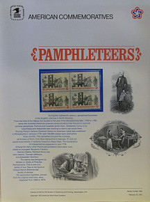 """PANEL # 10, U.S. COMMERATIVE PANEL PAMPHLETEERS …, ISSUED 2/16/1973 SCOTT # 1476, PRINTED ON HEAVY PAPER, MEASURING 8 1/2"""" X 11 1/4"""" WITH 4 UNUSED PAMPHLETTERS 8 CENT STAMPS PANELS ISSUED BY U.S. BUREAU OF ENGRAVING REPRESENT MANY HISTORICAL EVENTS IN OUR COUNTRY PLUS CULTURAL, WILDLIFE, FLORAL, MUSICAL, MOVIES AND COUNTLESS OTHER SUBJECTS, GREAT FOR COLLECTORS AND ENTHUSIAST OF A WIDE VARIETY OF INTEREST. GREAT TO FRAME FOR GIFTS! UP TO A DOZEN CAN BE SHIPPED USING PRIORITY MAIL FLAT RATE ENVELOPE, FOR THE PRICE OF ONE (REFUND GIVEN AFTER PANELS ARE SHIPPED TAKES 3-4 DAYS FOR REFUND TO REACH YOUR CARD) OR YOU CAN SEND ONE OR MORE, FIRST CLASS (NOT INSURED) FOR LESS, YOUR CHOICE."""