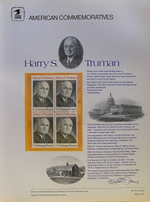"""PANEL # 15, U.S. COMMERATIVE PANEL HARRY S. TRUMAN.., ISSUED 6/8/1973 SCOTT # 1499, PRINTED ON HEAVY PAPER MEASURING 8  1/2""""  X  11  1/4"""" WITH 4 UNUSED HARRY S. TRUMAN, 8 CENT STAMPS  PANELS ISSUED BY U.S. BUREAU OF ENGRAVING REPRESENT MANY HISTORICAL EVENTS IN OUR COUNTRY PLUS CULTURAL, WILDLIFE, FLORAL, MUSICAL, MOVIES AND COUNTLESS OTHER SUBJECTS, GREAT FOR  COLLECTORS AND ENTHUSIAST OF A WIDE VARIETY OF INTEREST. GREAT TO FRAME FOR GIFTS! UP TO A DOZEN CAN BE SHIPPED USING PRIORITY MAIL FLAT RATE ENVELOPE, FOR THE PRICE OF ONE (REFUND GIVEN AFTER PANELS ARE SHIPPED TAKES 3-4 DAYS FOR REFUND TO REACH YOUR CARD) OR YOU CAN SEND ONE OR MORE, FIRST CLASS (NOT INSURED) FOR LESS, YOUR CHOICE."""