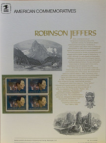 "PANEL # 19, U.S. COMMERATIVE PANEL ROBINSON JEFFERS.., ISSUED 8/13/1973 SCOTT # 1503 PRINTED ON HEAVY PAPER MEASURING 8  1/2""  X  11  1/4"" WITH 4 UNUSED ROBINSON JEFFERS 8 CENT STAMPS PANELS ISSUED BY U.S. BUREAU OF ENGRAVING REPRESENT MANY HISTORICAL EVENTS IN OUR COUNTRY PLUS CULTURAL, WILDLIFE, FLORAL, MUSICAL, MOVIES AND COUNTLESS OTHER SUBJECTS, GREAT FOR  COLLECTORS AND ENTHUSIAST OF A WIDE VARIETY OF INTEREST.  GREAT TO FRAME FOR GIFTS! UP TO A DOZEN CAN BE SHIPPED USING PRIORITY MAIL FLAT RATE ENVELOPE, FOR THE PRICE OF ONE (REFUND GIVEN AFTER PANELS ARE SHIPPED TAKES 3-4 DAYS FOR REFUND TO REACH YOUR CARD) OR YOU CAN SEND ONE OR MORE, FIRST CLASS (NOT INSURED) FOR LESS, YOUR CHOICE."
