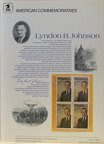 """PANEL # 20, U.S. COMMERATIVE PANEL LYNDON B. JOHNSON.., ISSUED 8/27/1973 SCOTT # 1503 PRINTED ON HEAVY PAPER MEASURING 8  1/2""""  X  11  1/4"""" WITH 4 UNUSED LYNDON B JOHNSON 8 CENT STAMPS PANELS ISSUED BY U.S. BUREAU OF ENGRAVING REPRESENT MANY HISTORICAL EVENTS IN OUR COUNTRY PLUS CULTURAL, WILDLIFE, FLORAL, MUSICAL, MOVIES AND COUNTLESS OTHER SUBJECTS, GREAT FOR  COLLECTORS AND ENTHUSIAST OF A WIDE VARIETY OF INTEREST. GREAT TO FRAME FOR GIFTS! UP TO A DOZEN CAN BE SHIPPED USING PRIORITY MAIL FLAT RATE ENVELOPE, FOR THE PRICE OF ONE (REFUND GIVEN AFTER PANELS ARE SHIPPED TAKES 3-4 DAYS FOR REFUND TO REACH YOUR CARD) OR YOU CAN SEND ONE OR MORE, FIRST CLASS (NOT INSURED) FOR LESS, YOUR CHOICE."""