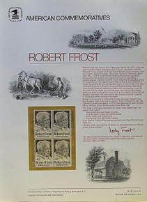 """PANEL # 28, U.S. COMMERATIVE PANEL ROBERT FROST.., ISSUED 3/26/1974 SCOTT # 1526 PRINTED ON HEAVY PAPER MEASURING 8  1/2""""  X  11  1/4"""" WITH 4 UNUSED ROBERT FROST  10 CENT STAMPS PANELS ISSUED BY U.S. BUREAU OF ENGRAVING REPRESENT MANY HISTORICAL EVENTS IN OUR COUNTRY PLUS CULTURAL, WILDLIFE, FLORAL, MUSICAL, MOVIES AND COUNTLESS OTHER SUBJECTS, GREAT FOR  COLLECTORS AND ENTHUSIAST OF A WIDE VARIETY OF INTEREST. GREAT TO FRAME FOR GIFTS! UP TO A DOZEN CAN BE SHIPPED USING PRIORITY MAIL FLAT RATE ENVELOPE, FOR THE PRICE OF ONE (REFUND GIVEN AFTER PANELS ARE SHIPPED TAKES 3-4 DAYS FOR REFUND TO REACH YOUR CARD) OR YOU CAN SEND ONE OR MORE, FIRST CLASS (NOT INSURED) FOR LESS, YOUR CHOICE."""