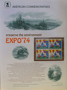"""PANEL # 29, U.S. COMMERATIVE PANEL EXPO '74.., ISSUED 4/18/1974 SCOTT # 1527 PRINTED ON HEAVY PAPER MEASURING 8  1/2""""  X  11  1/4"""" WITH 4 UNUSED EXPO '74  10 CENT STAMPS PANELS ISSUED BY U.S. BUREAU OF ENGRAVING REPRESENT MANY HISTORICAL EVENTS IN OUR COUNTRY PLUS CULTURAL, WILDLIFE, FLORAL, MUSICAL, MOVIES AND COUNTLESS OTHER SUBJECTS, GREAT FOR  COLLECTORS AND ENTHUSIAST OF A WIDE VARIETY OF INTEREST. GREAT TO FRAME FOR GIFTS! UP TO A DOZEN CAN BE SHIPPED USING PRIORITY MAIL FLAT RATE ENVELOPE, FOR THE PRICE OF ONE (REFUND GIVEN AFTER PANELS ARE SHIPPED TAKES 3-4 DAYS FOR REFUND TO REACH YOUR CARD) OR YOU CAN SEND ONE OR MORE, FIRST CLASS (NOT INSURED) FOR LESS, YOUR CHOICE."""