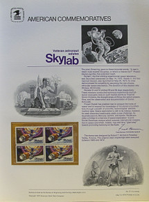 "PANEL # 31, U.S. COMMERATIVE PANEL SKYLAB.., ISSUED 5/14/1974 SCOTT # 1529 PRINTED ON HEAVY PAPER MEASURING 8  1/2""  X  11  1/4"" WITH 4 SKY LAB  10 CENT STAMPS PANELS ISSUED BY U.S. BUREAU OF ENGRAVING REPRESENT MANY HISTORICAL EVENTS IN OUR COUNTRY PLUS CULTURAL, WILDLIFE, FLORAL, MUSICAL, MOVIES AND COUNTLESS OTHER SUBJECTS, GREAT FOR  COLLECTORS AND ENTHUSIAST OF A WIDE VARIETY OF INTEREST.  GREAT TO FRAME FOR GIFTS! UP TO A DOZEN CAN BE SHIPPED USING PRIORITY MAIL FLAT RATE ENVELOPE, FOR THE PRICE OF ONE (REFUND GIVEN AFTER PANELS ARE SHIPPED TAKES 3-4 DAYS FOR REFUND TO REACH YOUR CARD) OR YOU CAN SEND ONE OR MORE, FIRST CLASS (NOT INSURED) FOR LESS, YOUR CHOICE."