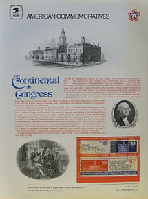 """PANEL # 35, U.S. COMMERATIVE PANEL CONTINENTAL CONGRESS.., ISSUED 7/4/1974 SCOTT # 1546a PRINTED ON HEAVY PAPER MEASURING 8  1/2""""  X  11  1/4"""" WITH 4 DIFFERENT, CONTINENTAL CONGRESS 10 CENT STAMPS PANELS ISSUED BY U.S. BUREAU OF ENGRAVING REPRESENT MANY HISTORICAL EVENTS IN OUR COUNTRY PLUS CULTURAL, WILDLIFE, FLORAL, MUSICAL, MOVIES AND COUNTLESS OTHER SUBJECTS, GREAT FOR  COLLECTORS AND ENTHUSIAST OF A WIDE VARIETY OF INTEREST. GREAT TO FRAME FOR GIFTS! UP TO A DOZEN CAN BE SHIPPED USING PRIORITY MAIL FLAT RATE ENVELOPE, FOR THE PRICE OF ONE (REFUND GIVEN AFTER PANELS ARE SHIPPED TAKES 3-4 DAYS FOR REFUND TO REACH YOUR CARD) OR YOU CAN SEND ONE OR MORE, FIRST CLASS (NOT INSURED) FOR LESS, YOUR CHOICE."""