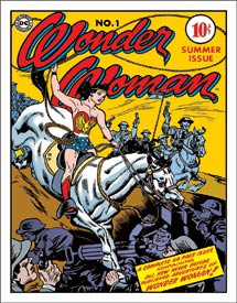 """WONDER WOMAN COVER NO. 1 Tin Sign measures 12 1/2"""" x 16"""" with holes in each corner for easy mounting."""
