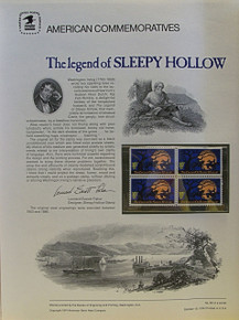 "PANEL # 39, U.S. COMMERATIVE PANEL SLEPPY HOLLOW.., ISSUED 10/10/1974 SCOTT # 1548 PRINTED ON HEAVY PAPER MEASURING 8  1/2""  X  11  1/4"" WITH 4 SLEPPY HOLLOW 10 CENT STAMPS PANELS ISSUED BY U.S. BUREAU OF ENGRAVING REPRESENT MANY HISTORICAL EVENTS IN OUR COUNTRY PLUS CULTURAL, WILDLIFE, FLORAL, MUSICAL, MOVIES AND COUNTLESS OTHER SUBJECTS, GREAT FOR  COLLECTORS AND ENTHUSIAST OF A WIDE VARIETY OF INTEREST.  GREAT TO FRAME FOR GIFTS! UP TO A DOZEN CAN BE SHIPPED USING PRIORITY MAIL FLAT RATE ENVELOPE, FOR THE PRICE OF ONE (REFUND GIVEN AFTER PANELS ARE SHIPPED TAKES 3-4 DAYS FOR REFUND TO REACH YOUR CARD) OR YOU CAN SEND ONE OR MORE, FIRST CLASS (NOT INSURED) FOR LESS, YOUR CHOICE."