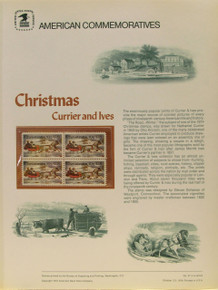 """PANEL # 41, U.S. COMMERATIVE PANEL CHRISTMAS CURRIER & IVES.., ISSUED 10/23/1974 SCOTT # 1551 PRINTED ON HEAVY PAPER MEASURING 8  1/2""""  X  11  1/4"""" WITH 4 CURRIER & IVES CHRISTMAS 10 CENT STAMPS PANELS ISSUED BY U.S. BUREAU OF ENGRAVING REPRESENT MANY HISTORICAL EVENTS IN OUR COUNTRY PLUS CULTURAL, WILDLIFE, FLORAL, MUSICAL, MOVIES AND COUNTLESS OTHER SUBJECTS, GREAT FOR  COLLECTORS AND ENTHUSIAST OF A WIDE VARIETY OF INTEREST. GREAT TO FRAME FOR GIFTS! UP TO A DOZEN CAN BE SHIPPED USING PRIORITY MAIL FLAT RATE ENVELOPE, FOR THE PRICE OF ONE (REFUND GIVEN AFTER PANELS ARE SHIPPED TAKES 3-4 DAYS FOR REFUND TO REACH YOUR CARD) OR YOU CAN SEND ONE OR MORE, FIRST CLASS (NOT INSURED) FOR LESS, YOUR CHOICE."""