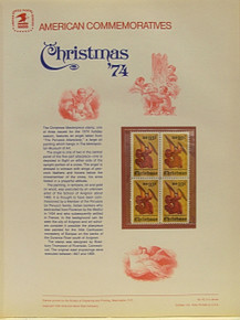 """PANEL # 42, U.S. COMMERATIVE PANEL CHRISTMAS ANGEL ALTERPIECE, ISSUED 10/23/1974 SCOTT # 1550 PRINTED ON HEAVY PAPER MEASURING 8  1/2""""  X  11  1/4"""" WITH 4 CHRISTMAS ANGEL ALTERPIECE 10 CENT STAMPS PANELS ISSUED BY U.S. BUREAU OF ENGRAVING REPRESENT MANY HISTORICAL EVENTS IN OUR COUNTRY PLUS CULTURAL, WILDLIFE, FLORAL, MUSICAL, MOVIES AND COUNTLESS OTHER SUBJECTS, GREAT FOR  COLLECTORS AND ENTHUSIAST OF A WIDE VARIETY OF INTEREST. GREAT TO FRAME FOR GIFTS! UP TO A DOZEN CAN BE SHIPPED USING PRIORITY MAIL FLAT RATE ENVELOPE, FOR THE PRICE OF ONE (REFUND GIVEN AFTER PANELS ARE SHIPPED TAKES 3-4 DAYS FOR REFUND TO REACH YOUR CARD) OR YOU CAN SEND ONE OR MORE, FIRST CLASS (NOT INSURED) FOR LESS, YOUR CHOICE."""